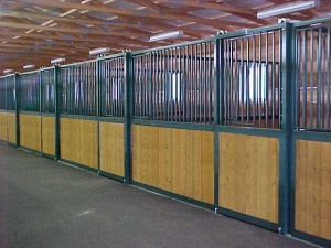 row of horse stalls